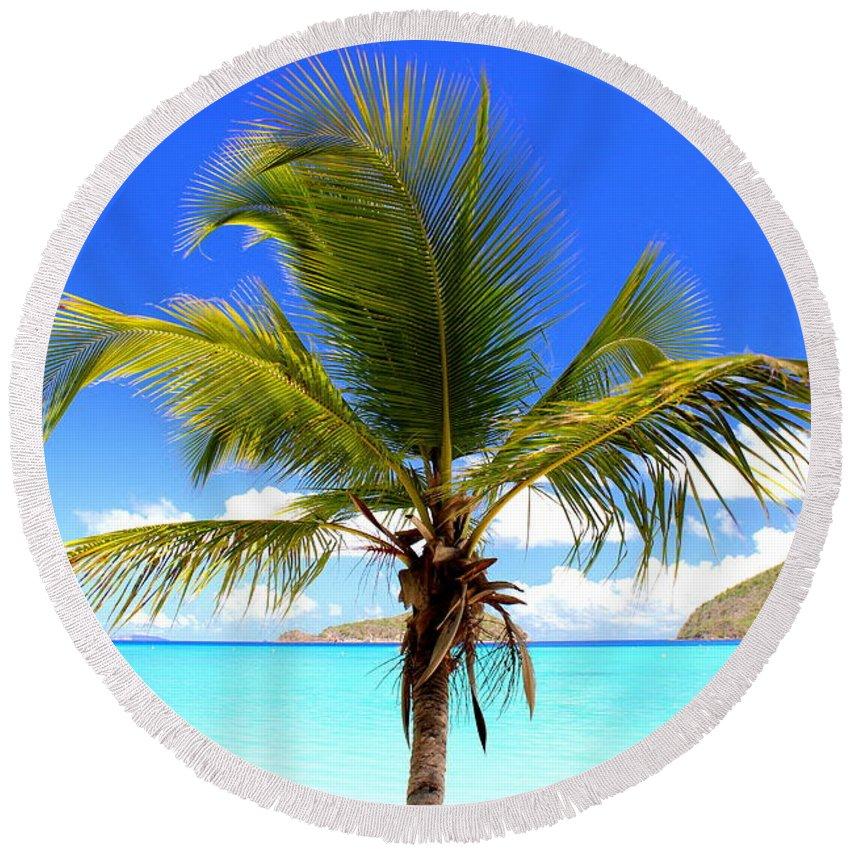 Maho Bay Round Beach Towel featuring the photograph Tropical Island by Fiona Kennard