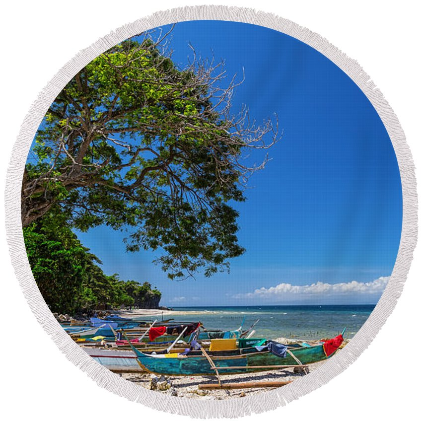 Beach Round Beach Towel featuring the photograph Tropical Island Panorama Paradise by James BO Insogna