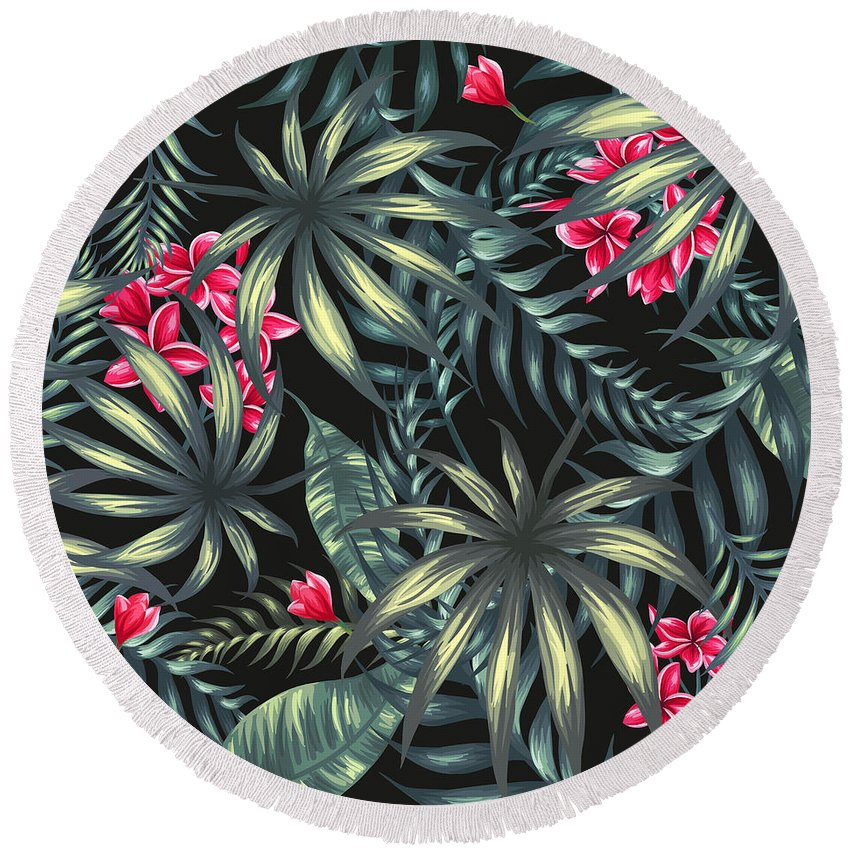 Tropical Round Beach Towel featuring the painting Tropical Leaf Pattern by Stanley Wong