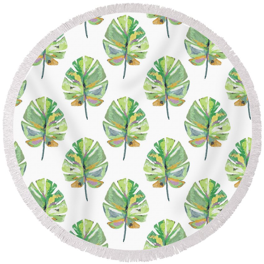 Tropical Round Beach Towel featuring the mixed media Tropical Leaves On White- Art by Linda Woods by Linda Woods