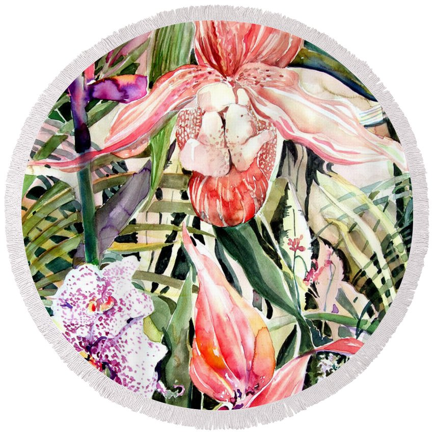Watercolor Round Beach Towel featuring the painting Tropical Orchids by Mindy Newman