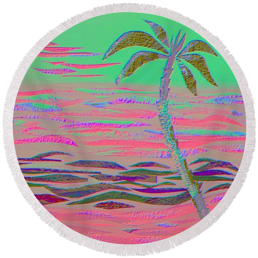 Tropical Round Beach Towel featuring the mixed media Hot Pink Coconut Palm by Jean Clarke