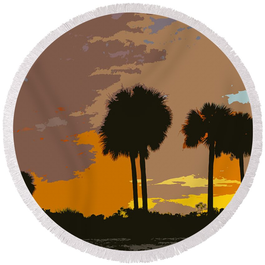 Tropical Round Beach Towel featuring the painting Tropical Palms Work Number Three by David Lee Thompson
