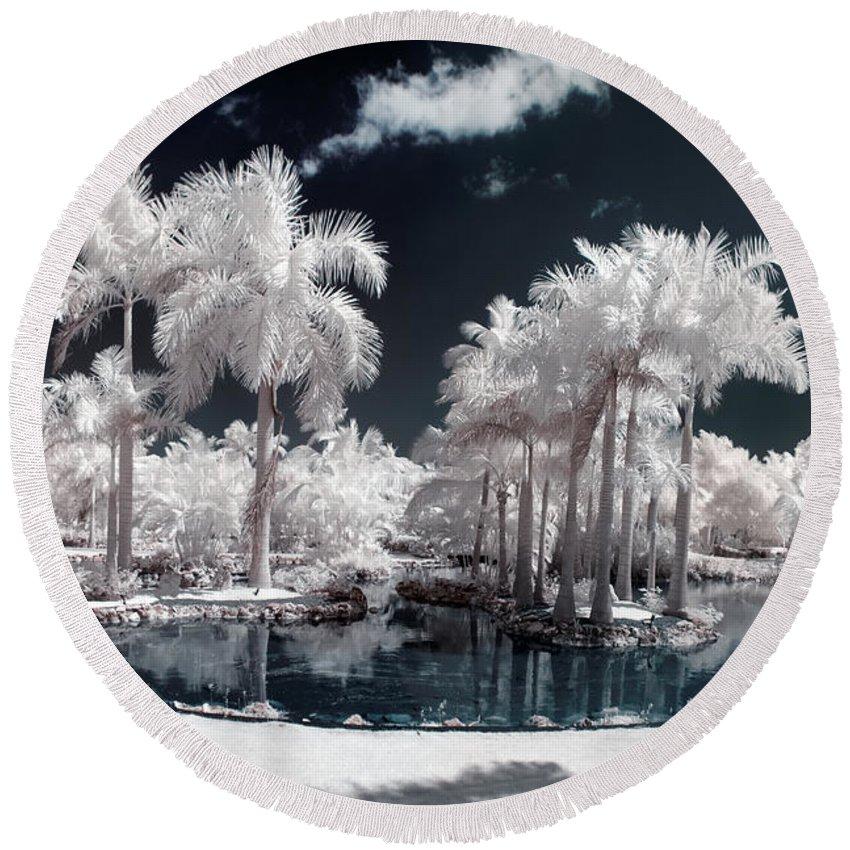 3scape Photos Round Beach Towel featuring the photograph Tropical Paradise Infrared by Adam Romanowicz