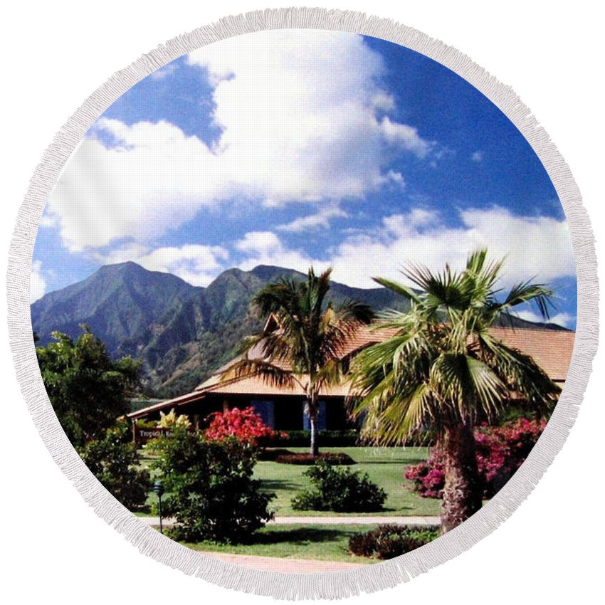 1986 Round Beach Towel featuring the photograph Tropical Plantation by Will Borden