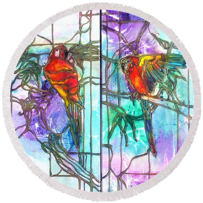 Tropical Round Beach Towel featuring the painting Tropical Reflections by Barbara Colangelo