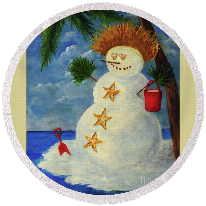 Palm Round Beach Towel featuring the painting Tropical Snowman by Carolyn Shireman