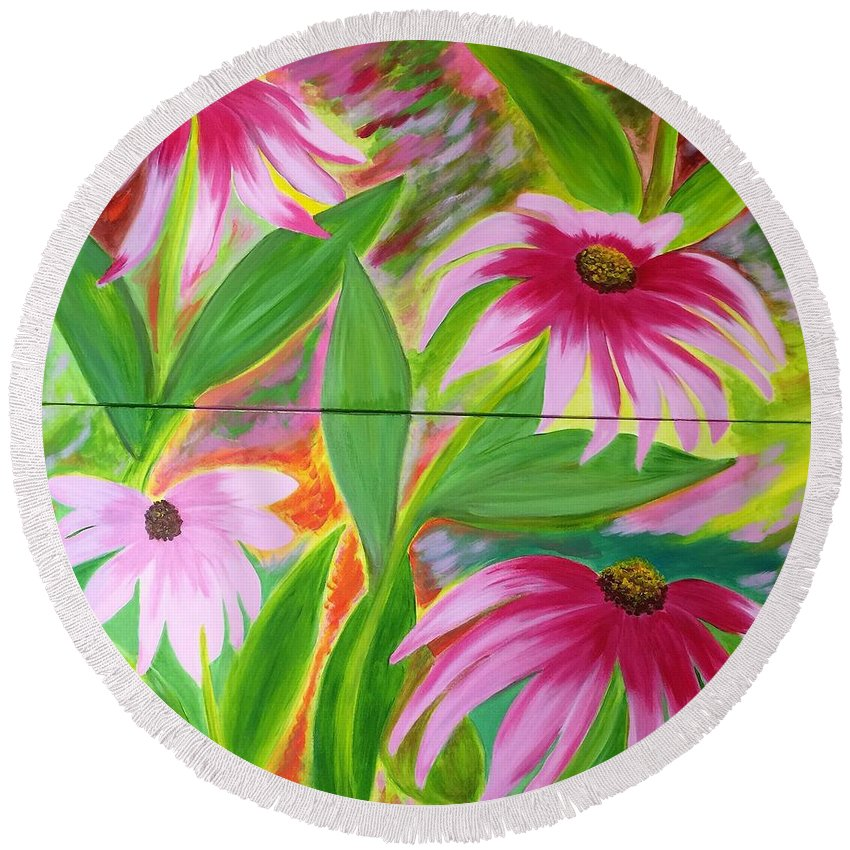 Still Life Round Beach Towel featuring the painting Tropical by Soheila Madani
