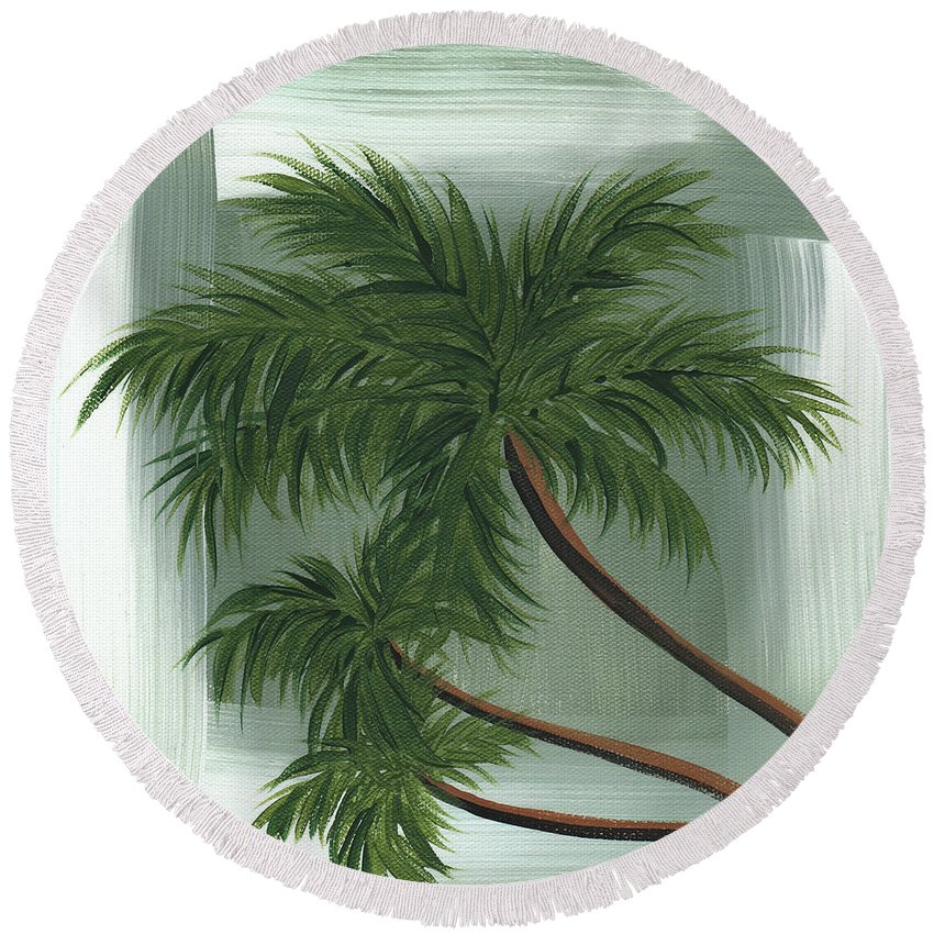 Wall Round Beach Towel featuring the painting Tropical Splash 1 By Madart by Megan Duncanson