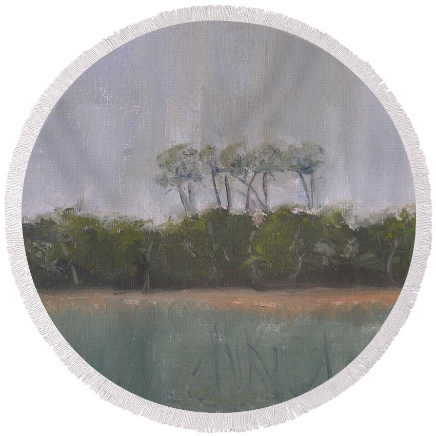 Landscape Beach Coast Tree Water Round Beach Towel featuring the painting Tropical Storm by Patricia Caldwell