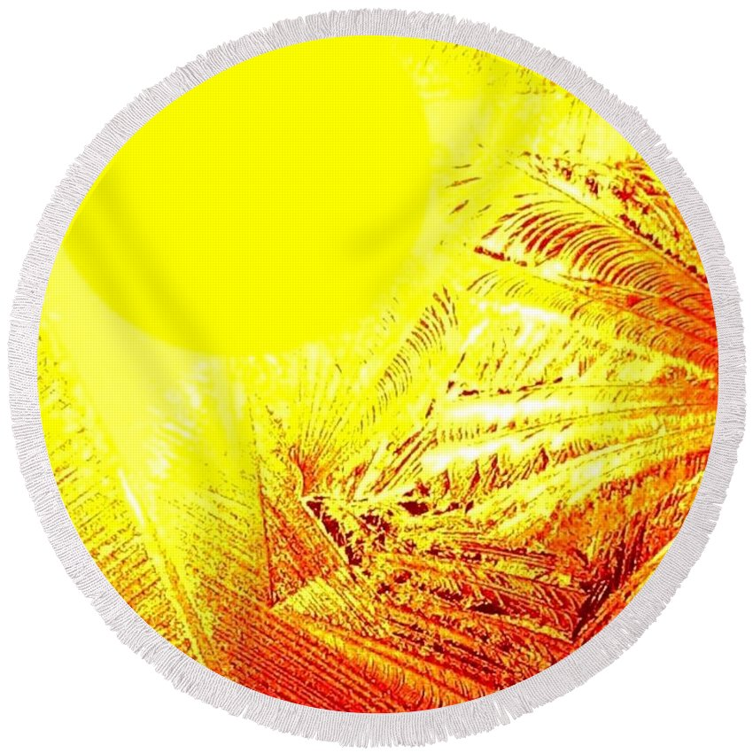 Abstract Round Beach Towel featuring the digital art Tropical Sunrise by Will Borden