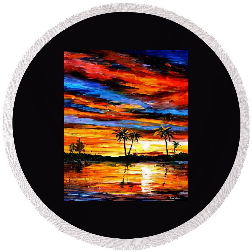 Afremov Round Beach Towel featuring the painting Tropical Sunset by Leonid Afremov