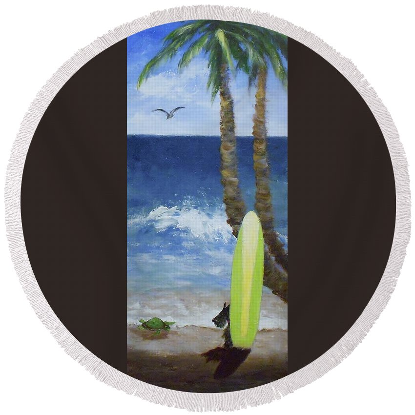 Palm Round Beach Towel featuring the painting Tropical Surfboard by Jamie Frier