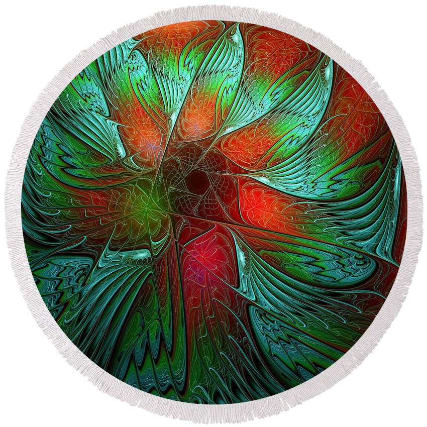 Digital Art Round Beach Towel featuring the digital art Tropical Tones by Amanda Moore