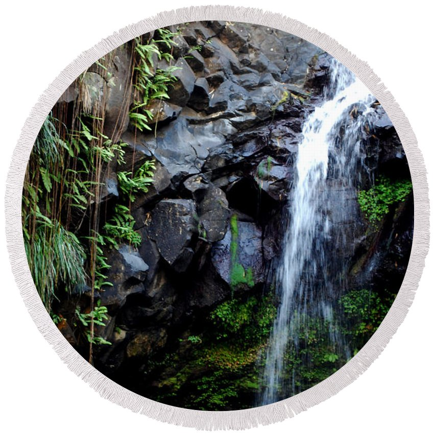 Waterfall Round Beach Towel featuring the photograph Tropical Waterfall by Gary Wonning