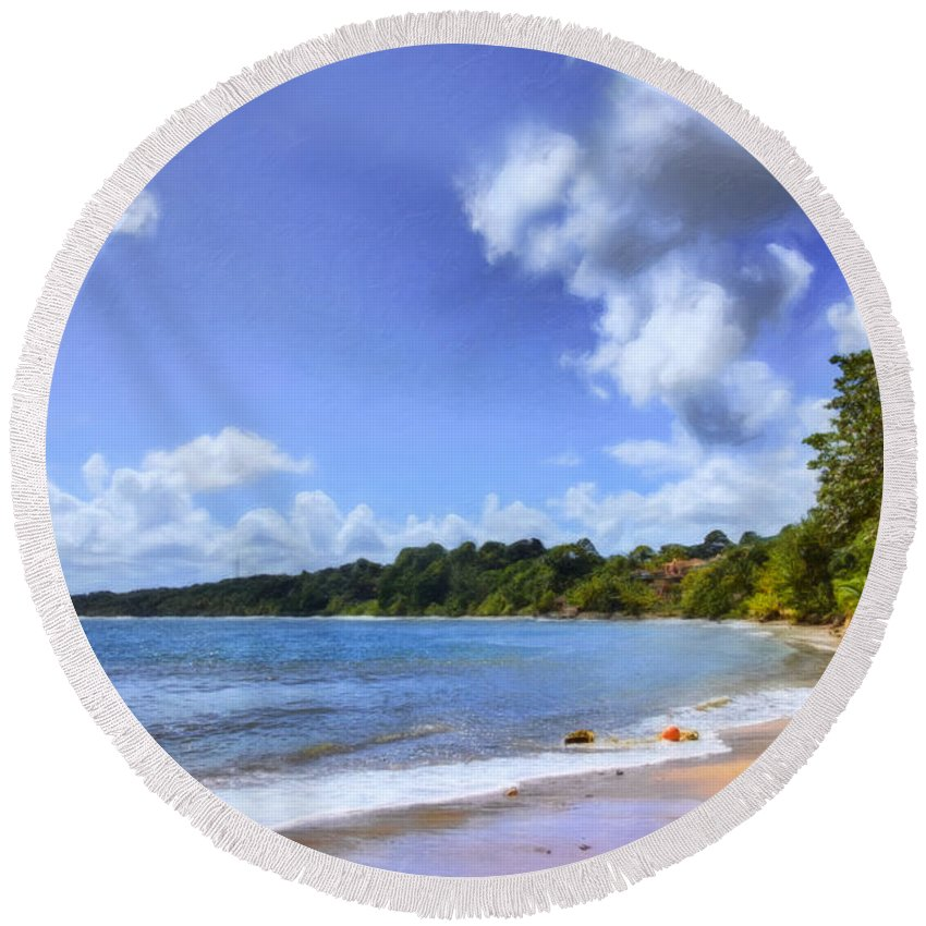 Trinidad Round Beach Towel featuring the photograph Tropical Waters by Nadia Sanowar
