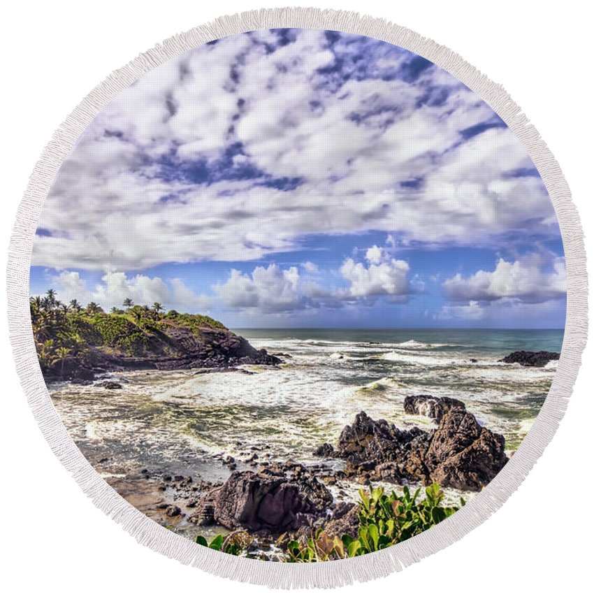 Trinidad Round Beach Towel featuring the photograph Tropical Waves by Nadia Sanowar