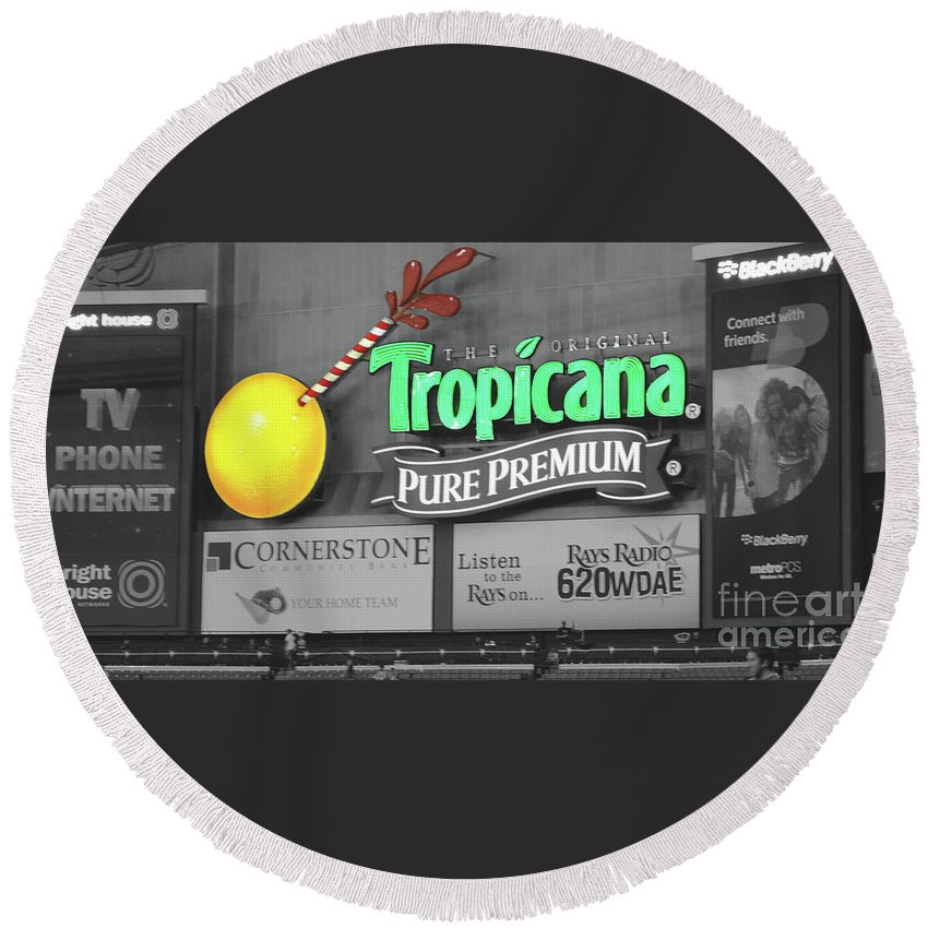 Tropicana Round Beach Towel featuring the photograph Tropicana Field by Jost Houk