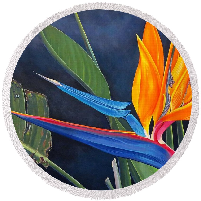 Botanical Round Beach Towel featuring the painting Tropicoso by Hunter Jay