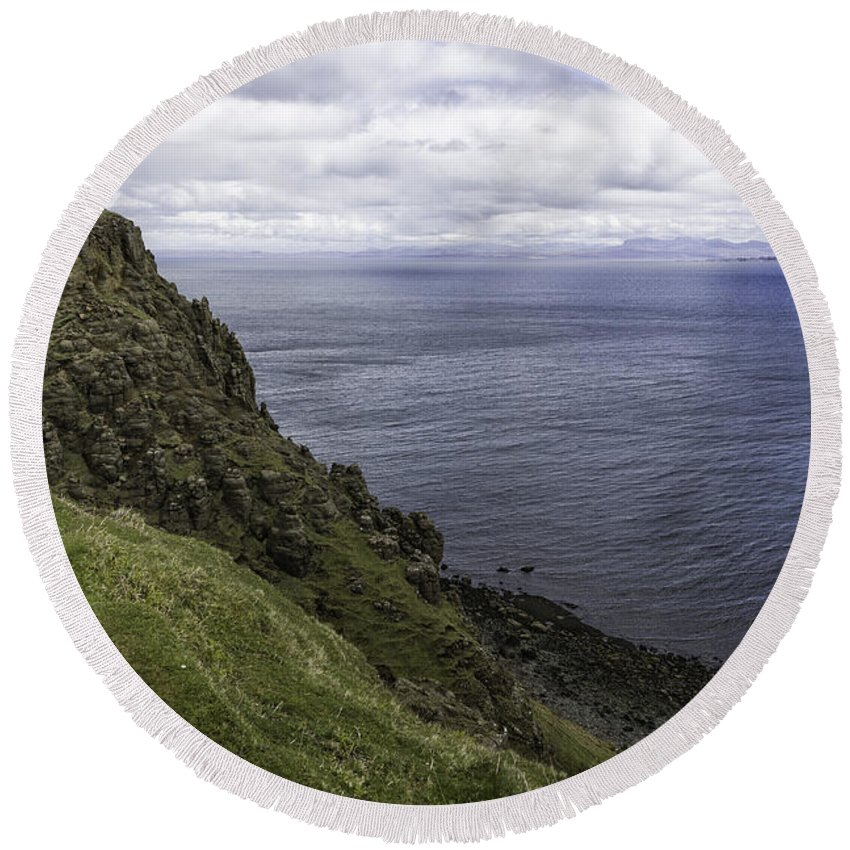 Trotternish Round Beach Towel featuring the photograph Trotternish Landscape by Fran Gallogly