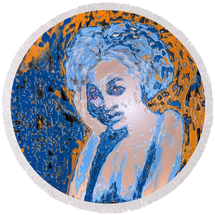 Woman Round Beach Towel featuring the digital art Troubled Woman by Ian MacDonald