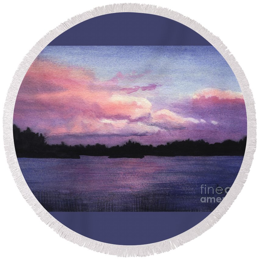 Landscape Round Beach Towel featuring the painting Trout Lake Sunset I by Lynn Quinn