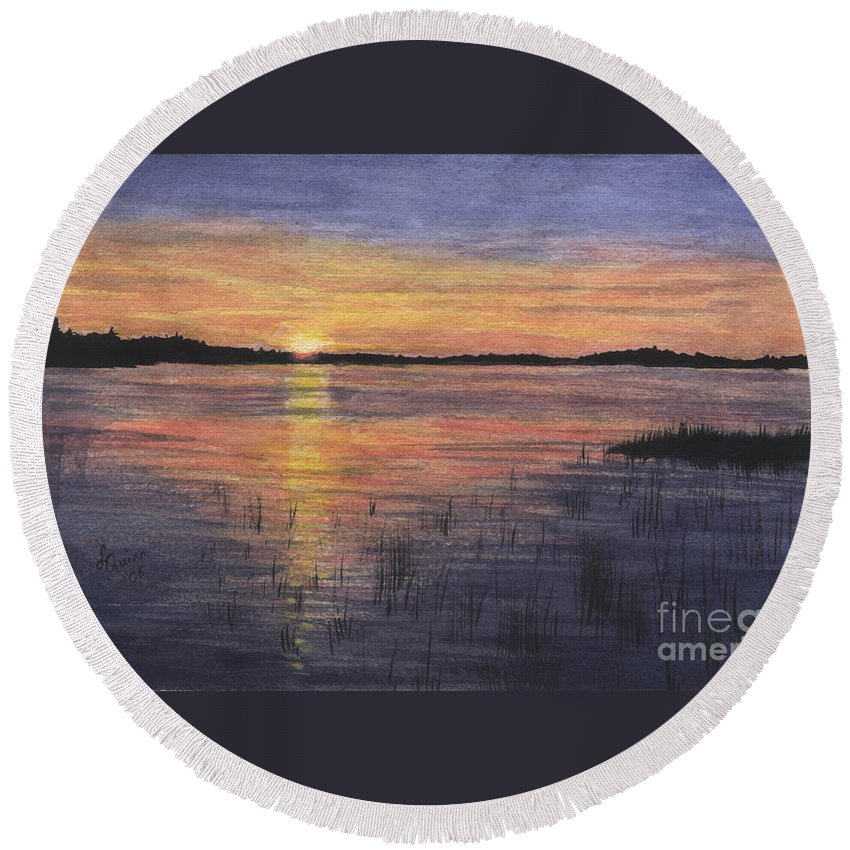 Landscape Round Beach Towel featuring the painting Trout Lake Sunset II by Lynn Quinn