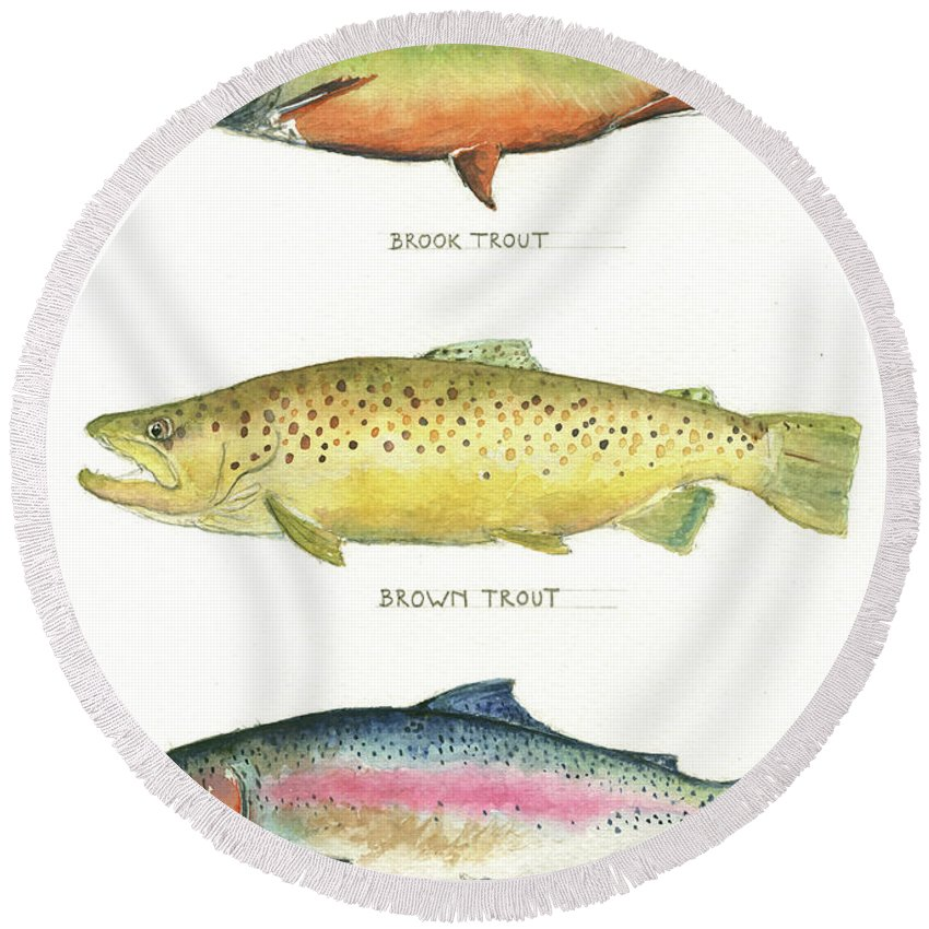 Brook Trout Round Beach Towel featuring the painting Trout species by Juan Bosco