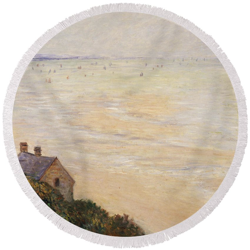 French Round Beach Towel featuring the painting Trouville At Low Tide by Claude Monet