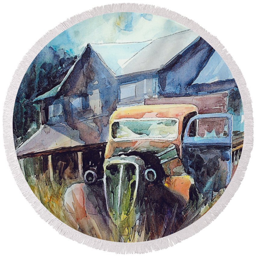 House Truck Grass Round Beach Towel featuring the painting Truck in the Tall Grass by Ron Morrison