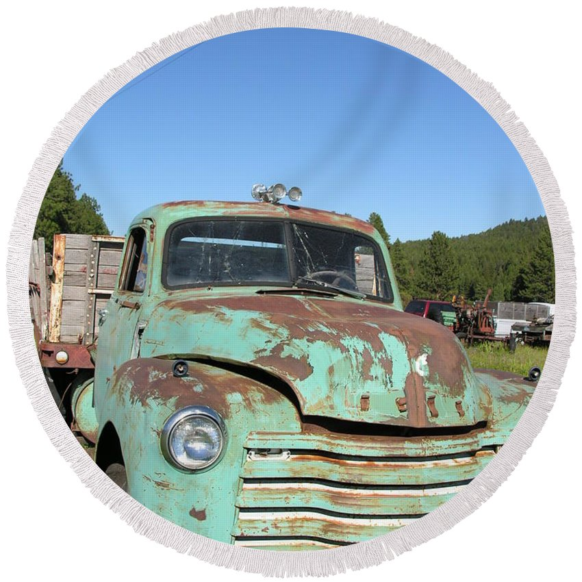 Truck Round Beach Towel featuring the photograph Truck Montana by Diane Greco-Lesser