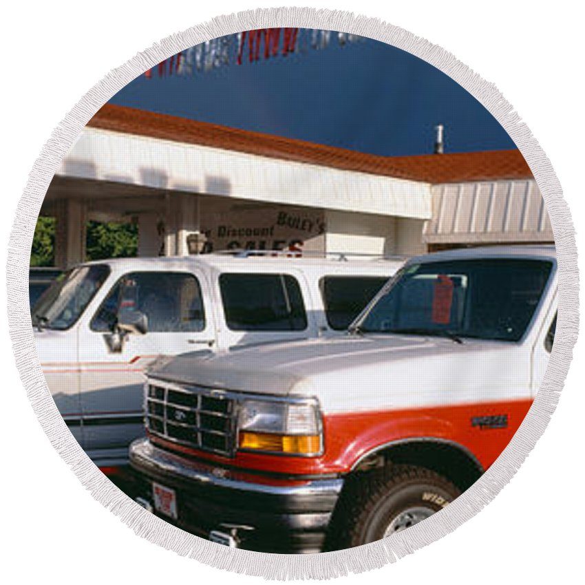 Photography Round Beach Towel featuring the photograph Trucks In Used Car Lot, St. George, Utah by Panoramic Images