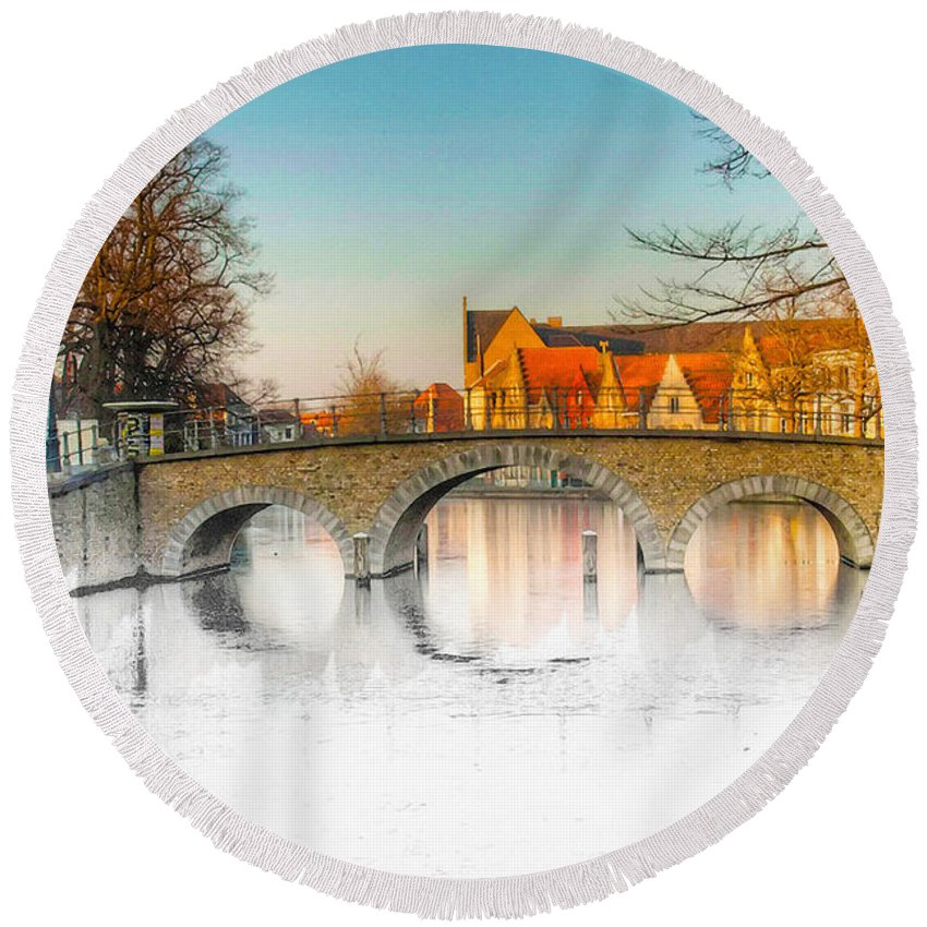 Art & Collectibles Round Beach Towel featuring the digital art True Colors Of Amsterdam by Don Kuing