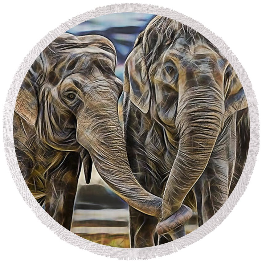 Elephant Round Beach Towel featuring the mixed media True Love by Marvin Blaine