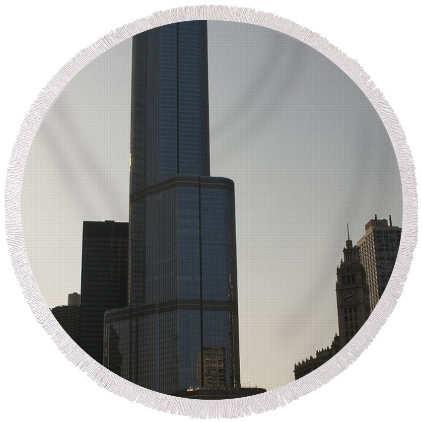 Chicago Windy City Tall Building Tower Donald Trump Hotel Skyscraper Metro Urban Round Beach Towel featuring the photograph Trump International Hotel And Tower by Andrei Shliakhau