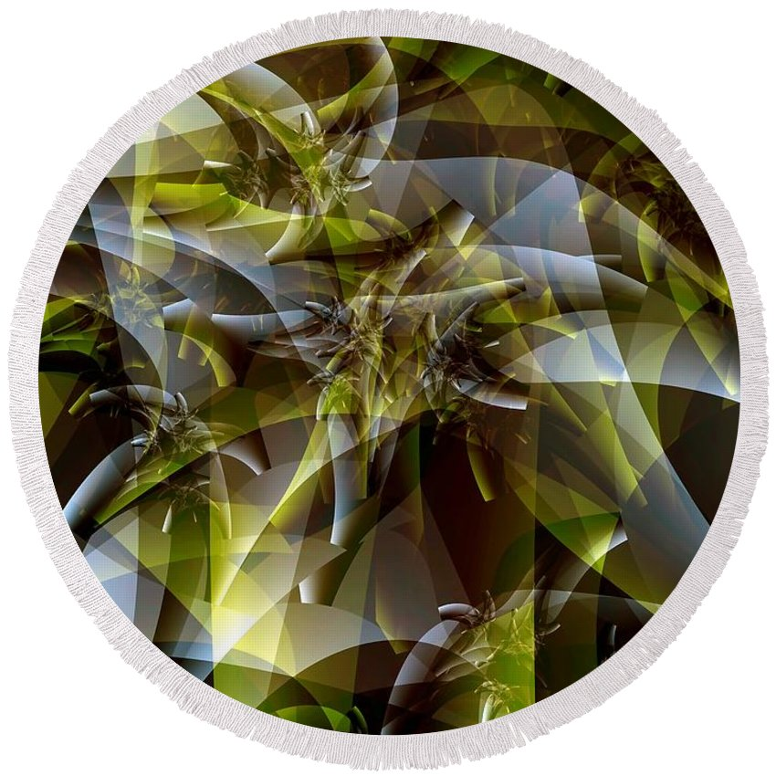 Fractal Art Round Beach Towel featuring the digital art Trunks In Green And Gray by Ron Bissett