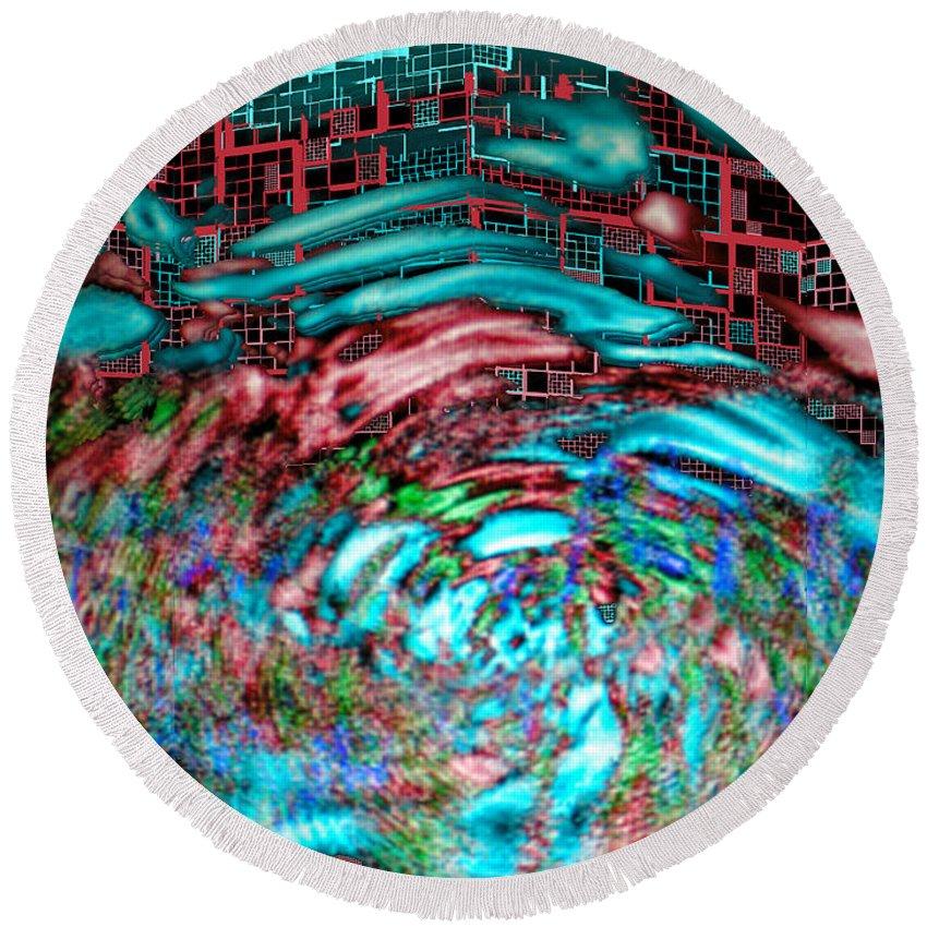 Abstract Round Beach Towel featuring the digital art Tsunami Versus Skyscraper by Seth Weaver