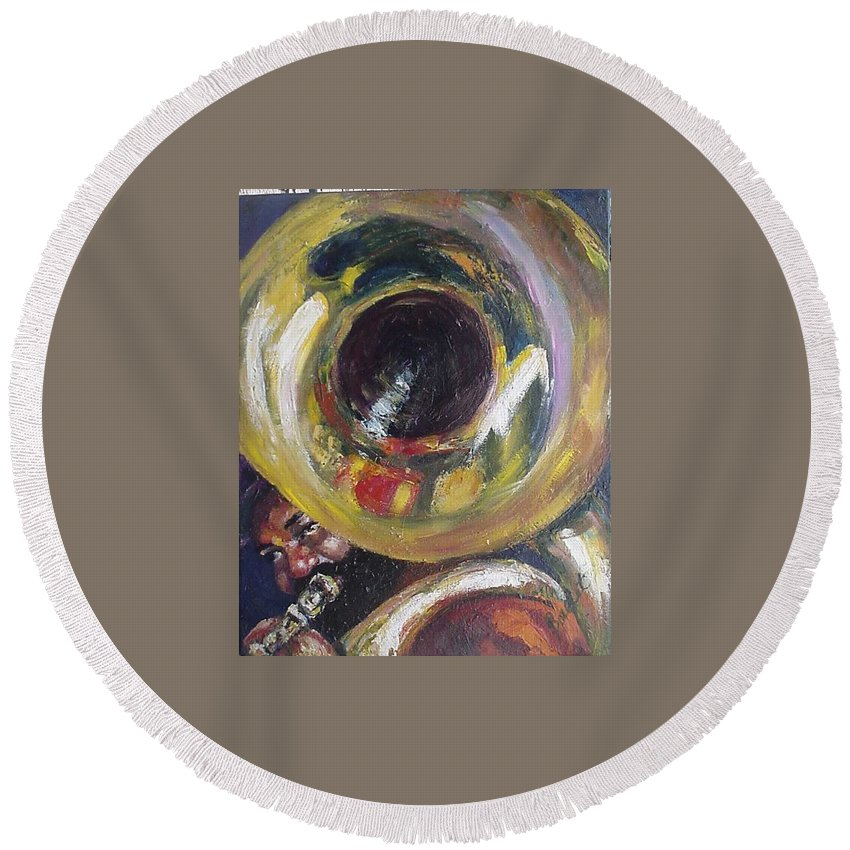 Tuba. Tuba Fats Round Beach Towel featuring the painting Tuba Fats by Beverly Boulet