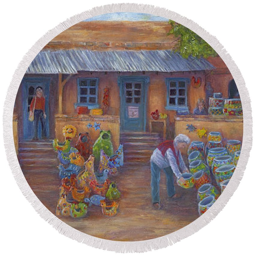 Mexican Pottery Round Beach Towel featuring the painting Tubac Pottery Shop by June Hunt