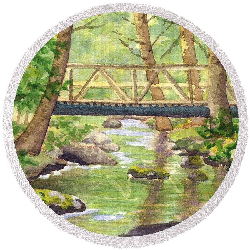 Stream Round Beach Towel featuring the painting Tuckers Brook by Sharon E Allen