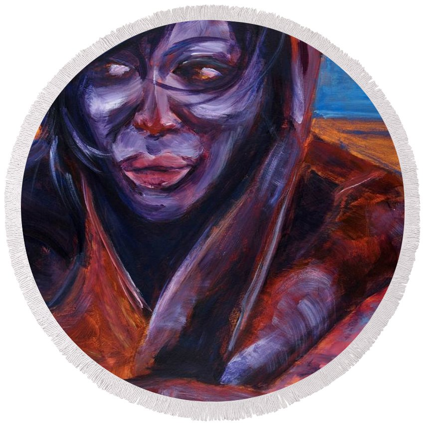 Girl Round Beach Towel featuring the painting Tuesday by Jason Reinhardt