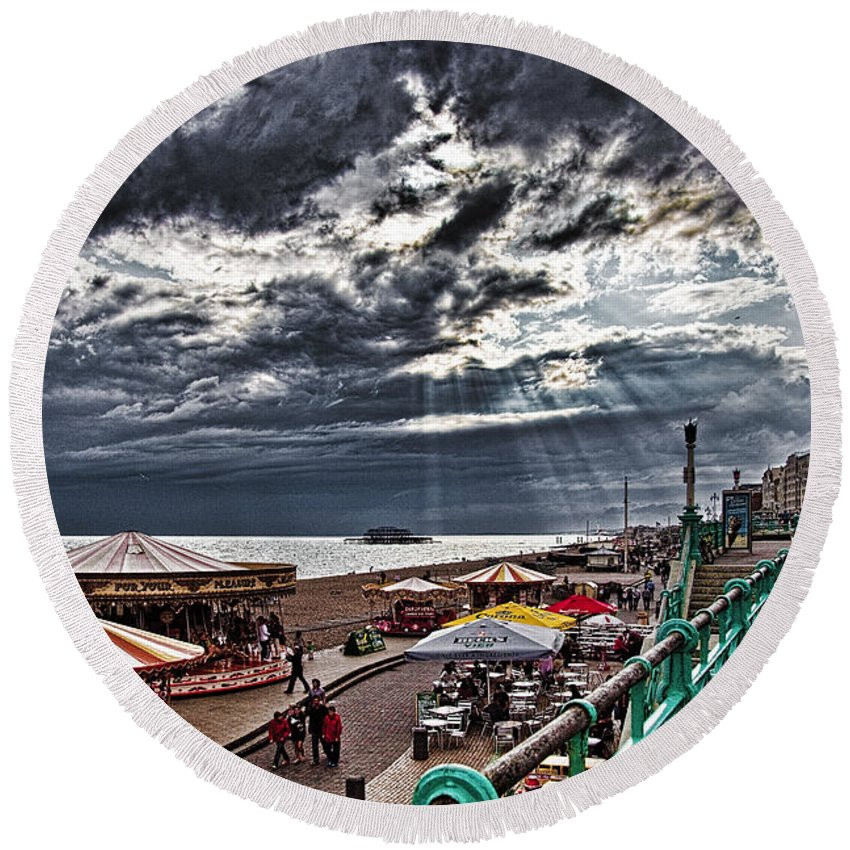 Hdr Round Beach Towel featuring the photograph Tuesday On The Promenade by Chris Lord