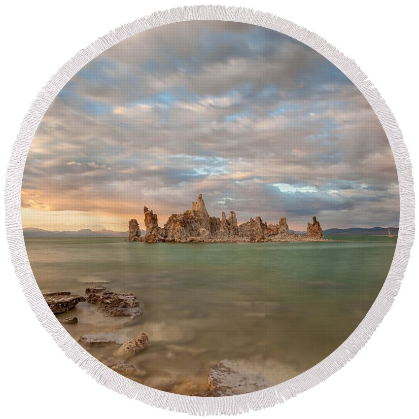 Landscape Round Beach Towel featuring the photograph Tufa Castles by Jonathan Nguyen