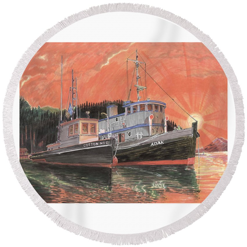 Tug Boats Anchored In Red Sky Round Beach Towel featuring the painting Tug Boats Anchored In Red Sky by Jack Pumphrey