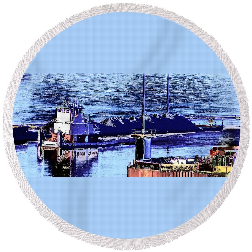 Abstract Round Beach Towel featuring the photograph Tug Reflections by Rachel Christine Nowicki