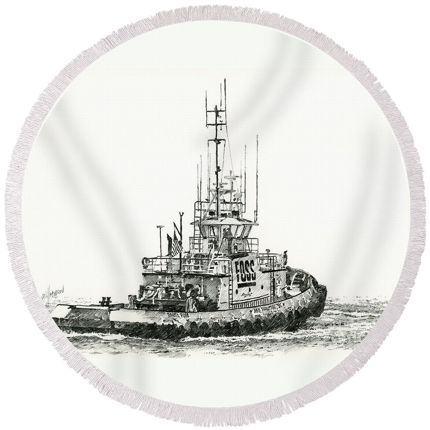 Tugboat Prints Round Beach Towel featuring the drawing Tugboat Daniel Foss by James Williamson