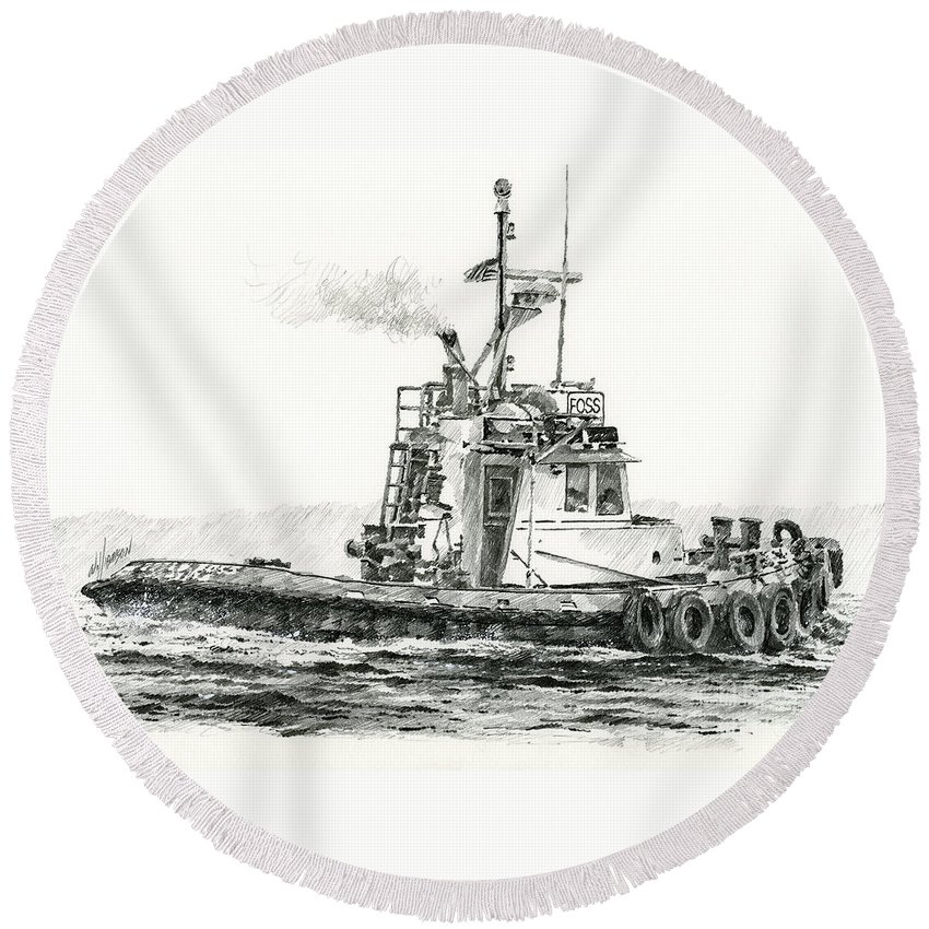 Tugs Round Beach Towel featuring the drawing Tugboat Kelly Foss by James Williamson