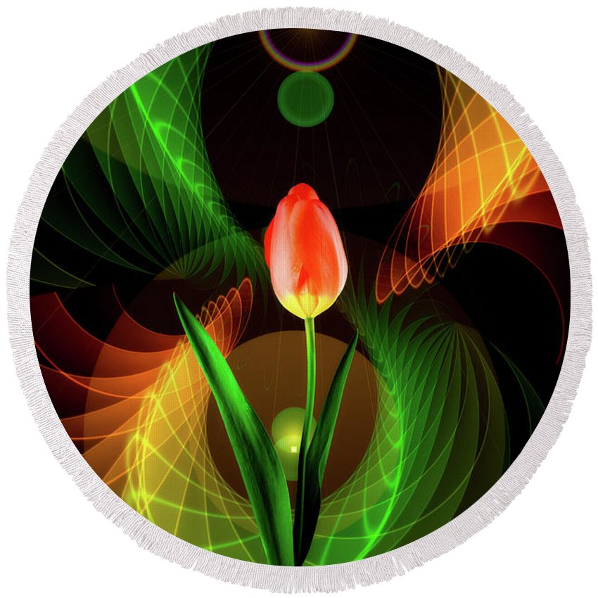 Tulip Round Beach Towel featuring the mixed media Tulip Abstract by Pixabay