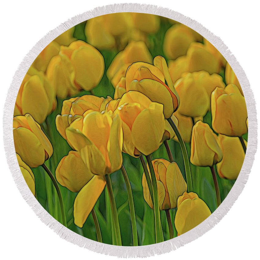 Round Beach Towel featuring the photograph Tulip. by Angela Aird