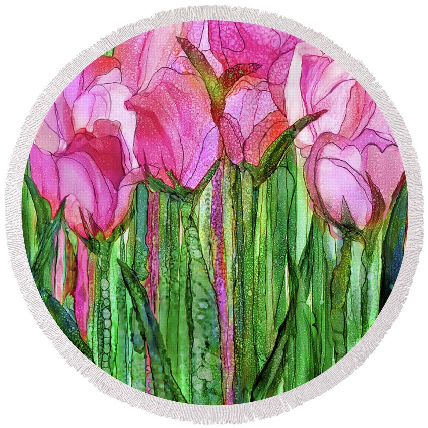 Carol Cavalaris Round Beach Towel featuring the mixed media Tulip Bloomies 1 - Pink by Carol Cavalaris